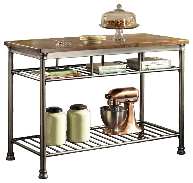 Classic French Style Hardwood Butcher Block Top Metal Kitchen Utility Table    Transitional   Kitchen Islands And Kitchen Carts   By Hilton Furnitures