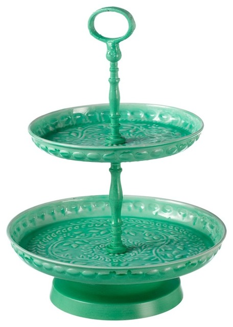 Medallion 2 Tier Server With Handle Mint Traditional