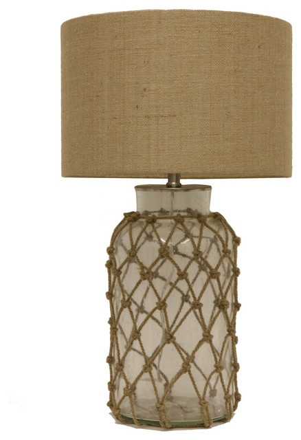 Seeded Glass Table Lamp With Rope Net.