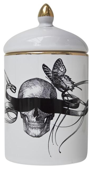 Masked Skull Ceramic Pot