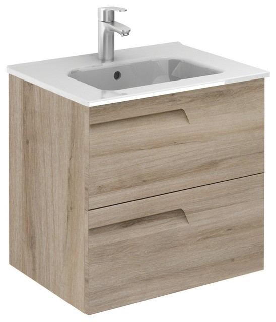 Vitale 24 Inches Wall Mounted Modern Bathroom Vanity 2 Drawer Natural With Basin