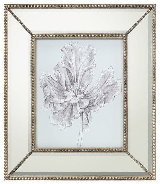 silvery blue tulips iii print with mirrored frame transitional prints and posters