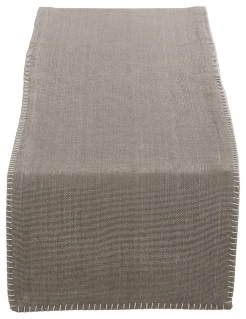 Celena Collection Whip Stitched Design Cotton Table Runner, Gray  Contemporary Table Runners