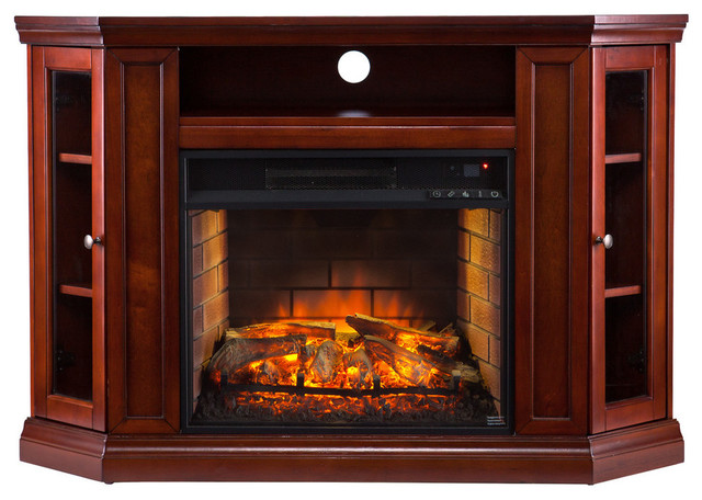 Lincoln Corner Media Infrared Fireplace Brown Mahogany