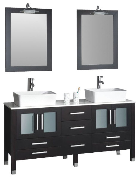 Cambridge 71 Solid Wood Double Bathroom Vanity Set, Chrome Faucets.