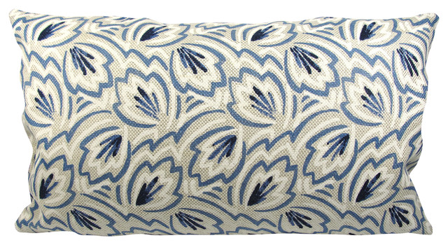 Blue & White On Beige Lumbar Pillow With Feather Down Insert.