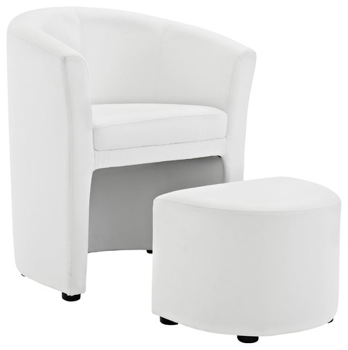 2-Piece Divulge Armchair and Ottoman Set, White