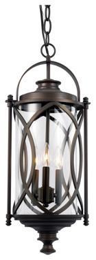 Fiesta 3-Light Outdoor Pendant/chandelier, Rubbed Oil Bronze.