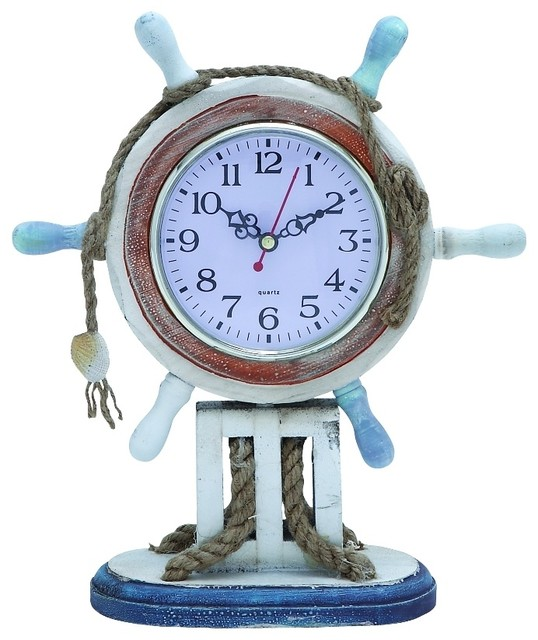 Nautical Wood Table Clock White Ship Wheel Accent Decor Beach Style Desk And