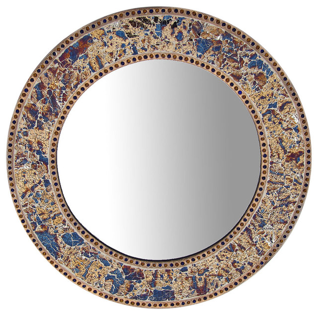 """Decorative Round Framed Wall Mirror Glass Mosaic, 24"""", Fired Gold"""