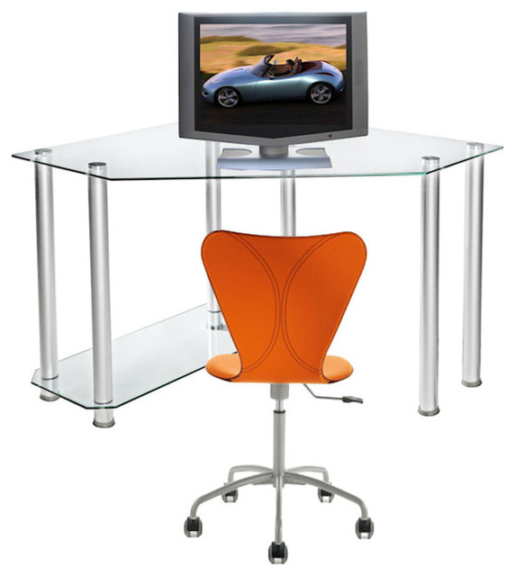 Clear Tempered Glass And Aluminum Corner Computer Desk