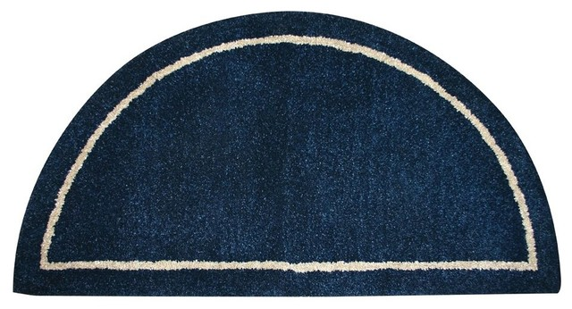 Blue Wool Hearth Rug W Half Circle Design Contemporary Area Rugs