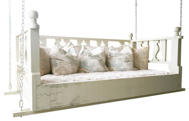 "Traditional Swing Bed, 33""x70"", With Mattress, Silvermist, Chain Hanging Kit"