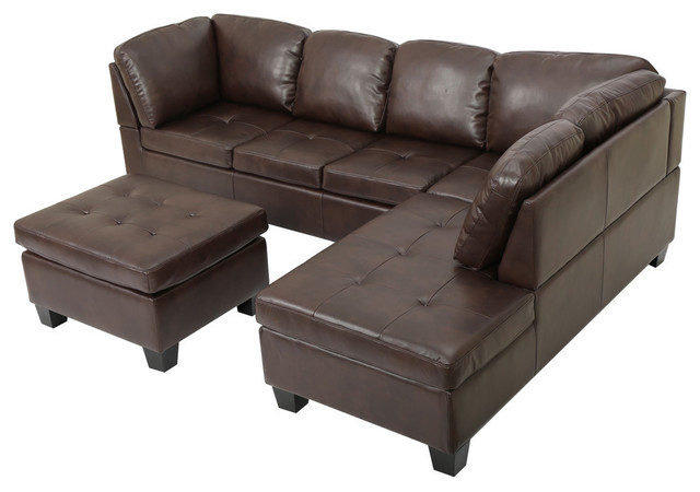 GDF Studio 3-Piece Welsh Brown PU Leather Sectional Set