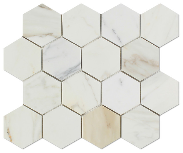 11 63 X11 Calacatta Gold Italian Calcutta Marble Polished Hexagon Mosaic Tile