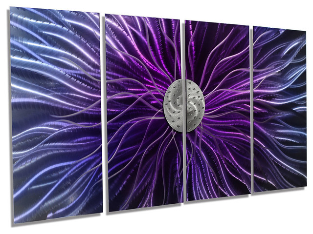 Blue Metal Wall Art abstract blue, purple and silver panel metal wall art, royal