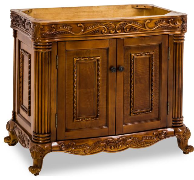 """39-11/16"""" Golden Pecan Burled Veneer Vanity Base,Antique Brass Hardware"""