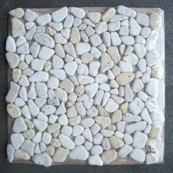 Travertine Mix Giallo River Rocks Pebble Stone Mosaic Tile