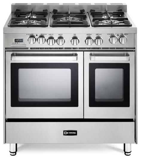 "Verona Double Oven Range, Stainless Steel, 36"""
