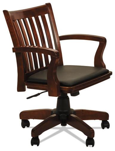 Postal Series Slat Back Wood/Leather Chair, Cherry/Black