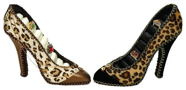 Women S Shoe Inspired Pair Ring Holders Animal Print