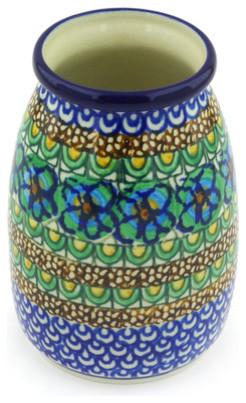 """Polish Pottery 5"""" Stoneware Vase Hand-Decorated Design"""