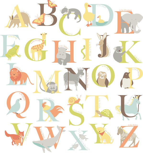 Alphabet Zoo Wall Art Decal Kit Contemporary Wall Decals by
