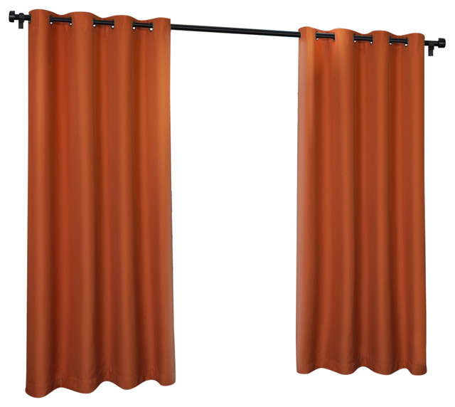 "Solid Cabana Grommet Top Window Curtain Panels, 54"" X 84"", Set Of 2, Mecca Orang."