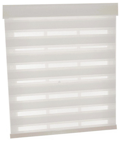 "Cordless Celestial Sheer Double Layered Shade, 23""x72"", White"
