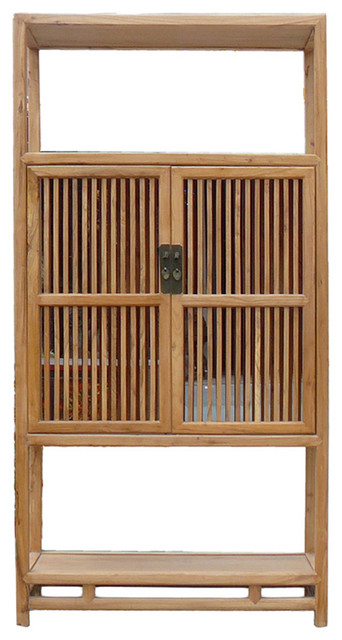 Chinese Light Natural Raw Wood Shutter Doors Bookcase Display Cabinet