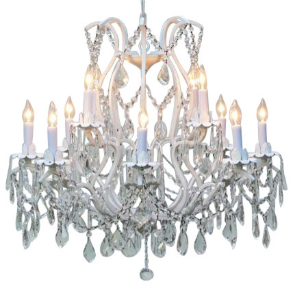 White Wrought Iron Crystal Chandelier Traditional Chandeliers – White Crystal Chandeliers