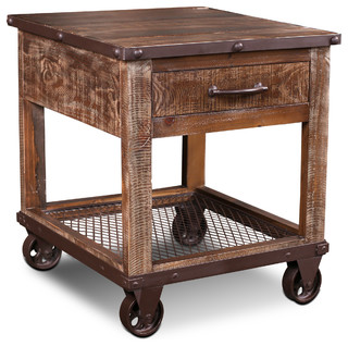 Addison Loft Rustic Solid Wood End Table on Casters