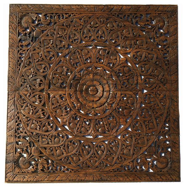 Elegant Wood Carved Wall Plaque Bali Lotus Fl Art 48