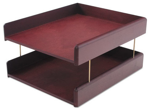 hardwood double letter desk tray 2 tier mahogany contemporary desk accessories