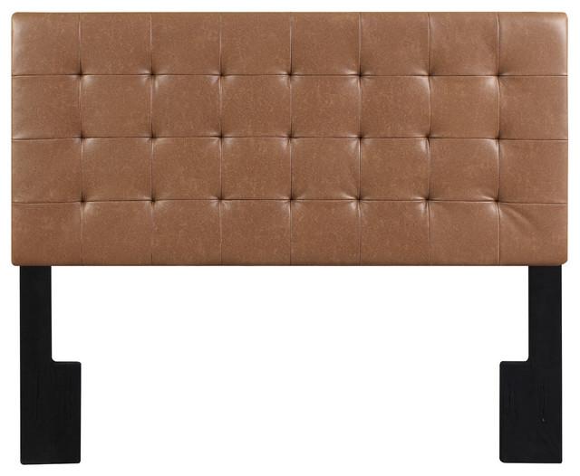 Faux Leather Biscuit Tuft King Upholstered Headboard Lummus Cognac, Brown.