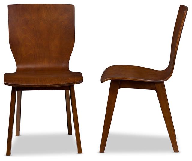 Elsa Bent Wood Dining Chair, Walnut Dark Brown, Set Of 2 Midcentury Dining
