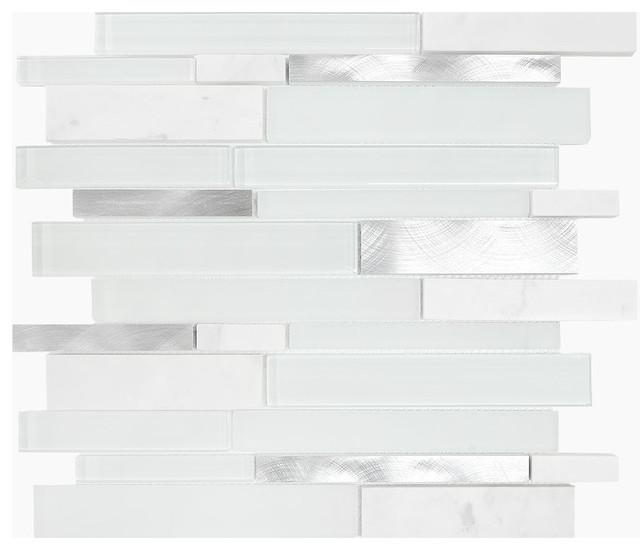 10sf Carrara White Marble Gray Glass Linear Mosaic Tile: White Gray Glass Metal Marble Mosaic Backsplash Tile