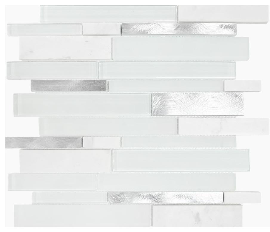 White Gray Gl Metal Marble Mosaic