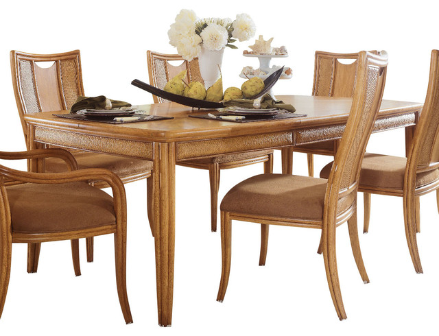 American drew antigua leg table in toasted almond for Traditional dining table uk