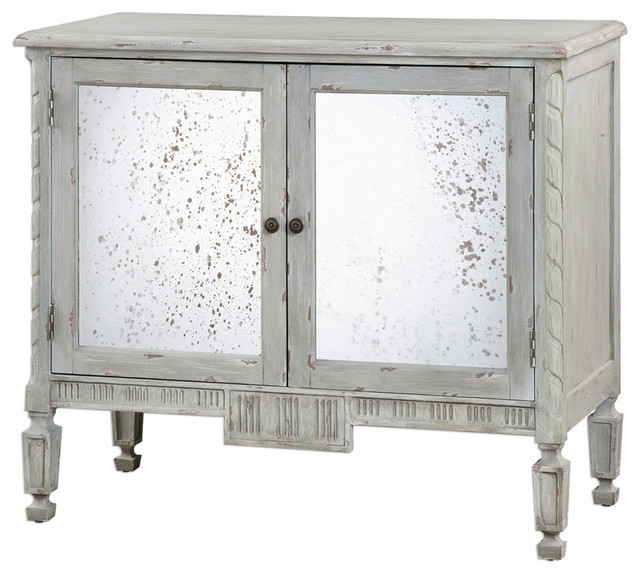 Bellport Coastal Beach Gray Antique Mirror Console Media Cabinet  beach-style-media-cabinets - Bellport Coastal Beach Gray Antique Mirror Console Media Cabinet
