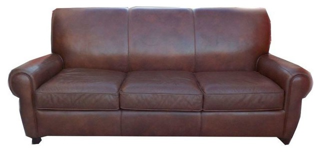 Distressed Leather Sofa By BarcaLounger Contemporary Sofas