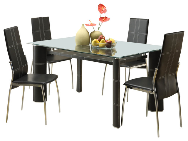 Glass Dining Table homelegance wilner rectangular glass dining table in black