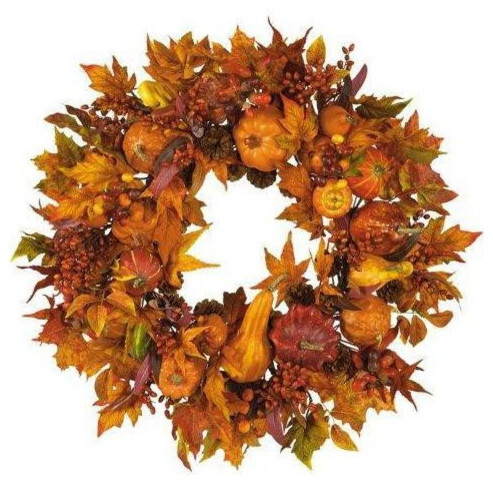 "Fall Harvest Wreath, 28""."