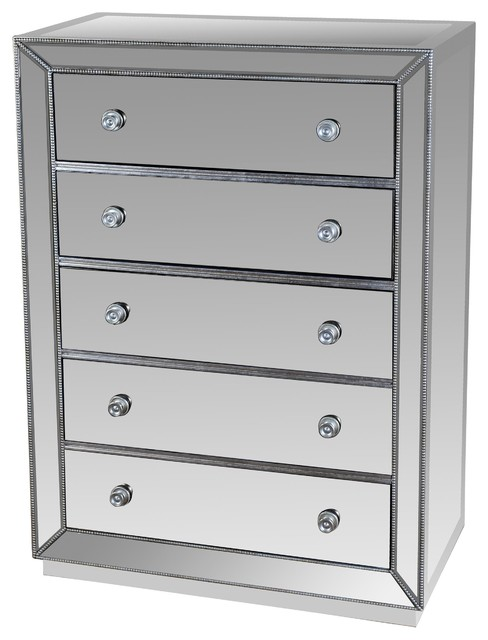jameson 5drawer silver mirrored exclusive chest