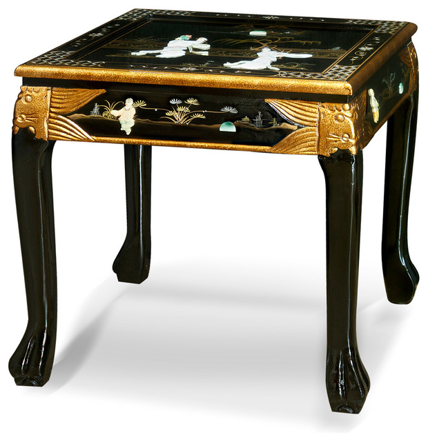 Paloma Mosaic Coffee Table: Black Lacquer Mother Of Pearl Figurine Lamp Table