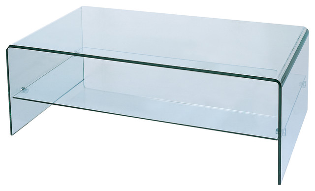 Waterfall Bent Glass Coffee Table With Storage Shelf.