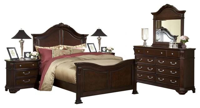 Emma Louie Phillip Cal King Bedroom Furniture Set Brown Traditional Bedroom Furniture Sets By Amoc