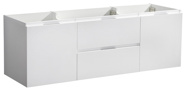 "Valencia 60"" Glossy White Wall Hung Double Sink Bathroom Cabinet."