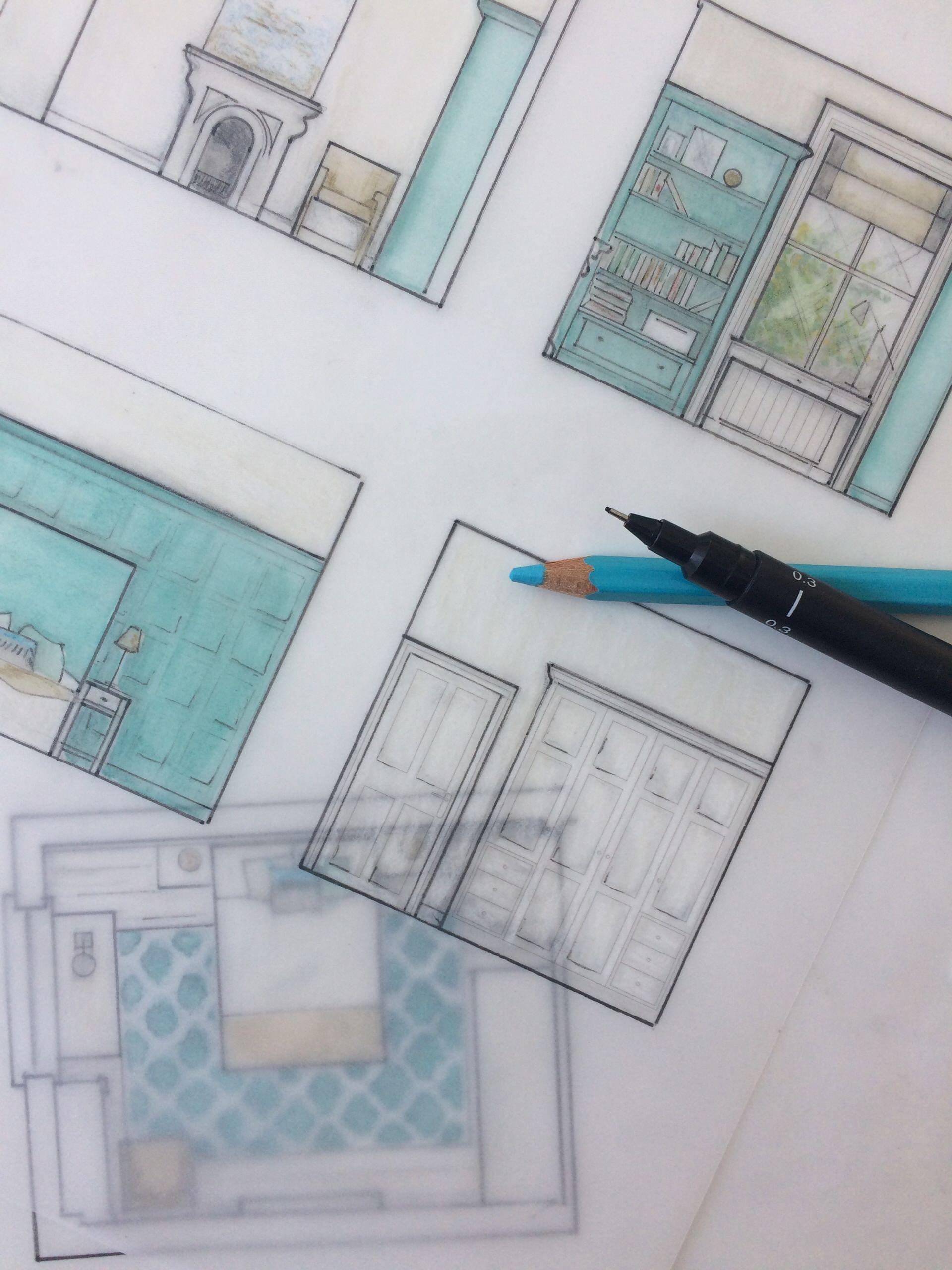 Panelled bedroom sketch