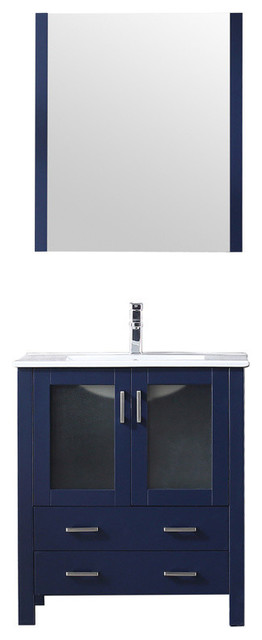 "Volez 30"" Single Vanity Navy Blue, Integrated Top,Integrated Square Sink&28""Mir"